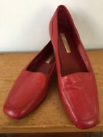 Vintage Enzo Angiolini Liberty Bright Red Leather Slip On Loafers Womens 8.5 N