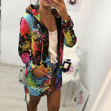 Women Floral Graffiti Boyfriend Loose Jacket Coat Zip Up Hooded Bomber Coat Top
