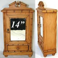 Antique Napoleon III French Miniature Armoire, Chinoiserie Bamboo, Bru Doll Size