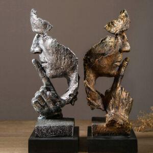 Man Face Sculpture Thinker Statue Figurine Tabletop Male Ornaments Art Decor UK