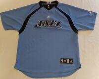 Adidas Utah Jazz Authentic NBA Team Warm Up Shooting Shirt Jersey L Blue