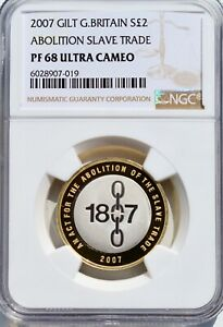 2007 SILVER PROOF £2 Two Pound Slave Trade NGC PF68