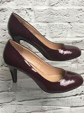 Ladies Burgundy Size Uk 7 Heeled Court Shoes Patent Smart