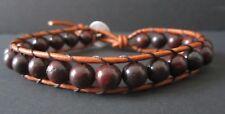 Men's Therapy Light Brown Leather Bloodstone Surf Sports Bracelet Buffalo Button