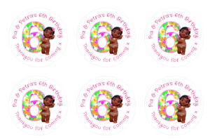 Personalised Round Baby Moana 6th Birthday Pink Party Stickers Sweet Cones Bags