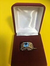 Estate Find Women's Vintage Sterling Silver & Blue Topaz Antique Style Ring Sz 6