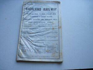 Highland Railway Working Timetable