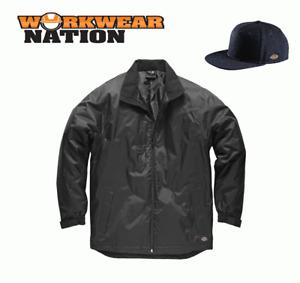 Dickies Fulton Contract Jacket, Waterproof Work Coat Black FREE SNAPBACK