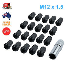 BLACK M12X1.5mm Wheel Rim Racing Lug Nuts Kit Open Ended Key Tool 20pcs AU