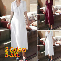 Ladies Sexy Plunge A-line Dress Women Evening Party Swing Maxi Dresses Size 8-26