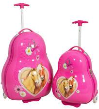 Reise Koffer Trolley Kinder Hartschale aus Polycarbonat Pferde Mädchen Set