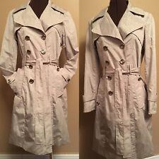 CALVIN KLEIN SZ XS Woman Trench Coat Belted Rain Light Beige Jacket