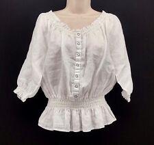 Womens Carole Little White Puffy Blouse Size Medium