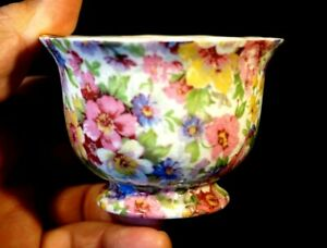A Beautiful James Kent Chintz Du Barry Footed Small Sugar Bowl