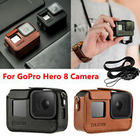 Retro PU Leather Case Cover Protection Pouch + Lanyard For GoPro Hero 8 Camera