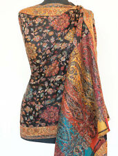 Versatile Colors. Hand-Cut Kani, Wool Shawl. Black, Red. Paisley Jamavar