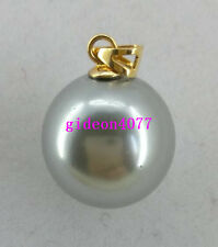 NEW round  AAA+ 16mm South Sea Gray Shell Pearl 14K GOLD PENDANT