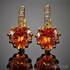 HK- New Arrival! Women Engagement Smoky 9K Gold Plated Rhinestone Leverback Earr