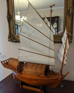 """Older Chinese Junk Clipper Wood Model Ship Boat Assembled Hand made 27"""""""