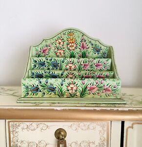 Folk Art Hand Painted Wooden Letter Rack Holder Green Floral.
