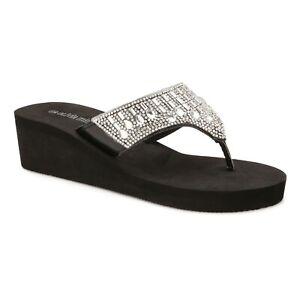 Olivia Miller Multi Rhinestone Hooded EVA Wedge Thong Sandal Size 10 Black