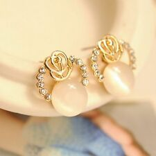 Jewelry Lady Diamond Exquisite Small Rose Cat Eye Earrings