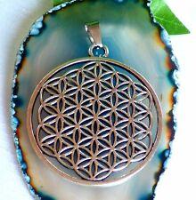 Blume des Lebens großer Amulett Anhänger Metall altsilberfarben -Flower of life-