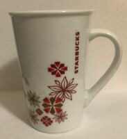 Starbucks Holiday Tall Mug Red Gold Stars Poinsettia Snowflake 12 ounce Ceramic