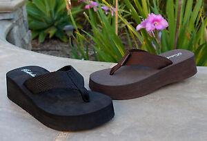 NEW Women's Platforms Mini Wedge T-Strap Sandals Flip Flops Size 5-11-1068