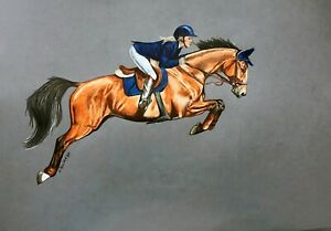 "JUMPING equus horse woman realism 11""x14"" original drawing on paper by ArtKaska"