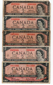 Bank of Canada 1954 $2 Two Dollars Lot of 5 Vintage Notes $10 Face Value