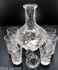 Crystal Decanter + 6 Shot Glasses for Vodka, Cognac, Whiskey. Hand made. 100% HQ