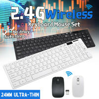 Slim Wireless Keyboard and Mouse Set Full Size FOR USB PC Laptop Computer  AU!
