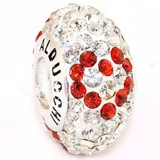 Alducchi Ruby Red Heart - Clear Swarovski Crystal 925 Silver European Charm Bead