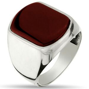 Solid 925 Sterling Silver Men's Ring with Agate Stone