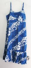 Milson by KY's Womens Hawaiian Blue Floral Spaghetti Strap Flounce Dress Sz M
