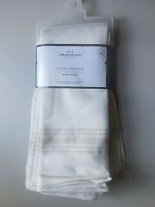 New Threshold Bistro Napkins (8 Pack) White with border on 2 ends