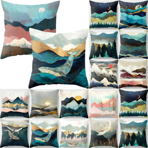 Nature Mountain Printed Sofa Cushion Cover Home Bedroom Decors Throw Pillow Case