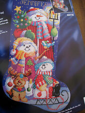 Bucilla Christmas Holiday Needlepoint Stocking Kit,SNOWMEN,60756,Gillum,Size 18""