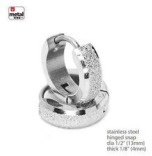 New DJ Hip Hop Stainless Steel Huggie Hoop Hinged Snap Earrings SSHE 030 S