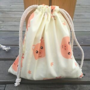 1pc Cotton Twill Drawstring Organizer Bag Party Gift Bag Print Red Pig Head Y B#