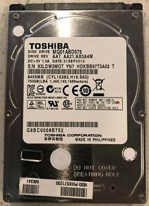 "Toshiba 750GB, 5400 RPM, 2.5"" SATA Hard Drive, Model No. MQ01ABD075"