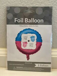 """Little Man or Little Miss 18"""" Round Foil Balloon  -  Gender Reveal Party Balloon"""