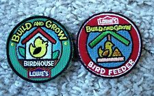2 Lowe's Build and Grow Birdhouse & Bird Feeder Project Patch Badges