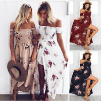 Womens Boho Holiday Off Shoulder Floral Maxi Ladies Summer Beach Party Dress NN9