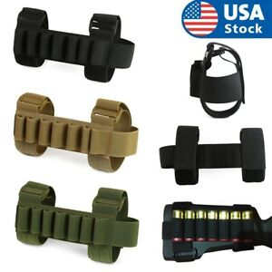 Tactical 7 Round Shotgun Stock Shell Holder Cartridges Ammo Carrier Bullet Pouch