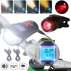 USB Rechargeable LED Bicycle Headlight Bike Taillight Speedometer with Bell Horn