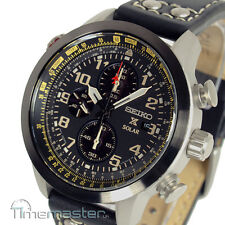 SEIKO PROSPEX SOLAR PILOT CHRONOGRAPH BLACK CALF LEATHER STRAP SSC423P1 SSC423