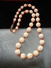Jugendstil antike Kette Collier + Bein + Koralle Perlen  + 46 cm