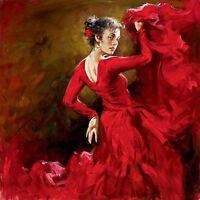 Huge art Oil painting female portrait young girl - Crimson Dancer dancing canvas